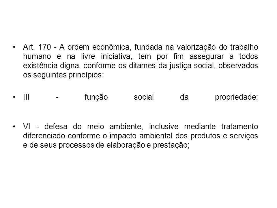 Art. 170 - A ordem econômica, fundada na valorização do trabalho humano e na livre iniciativa, tem por fim assegurar a todos existência digna, conforme os ditames da justiça social, observados os seguintes princípios: