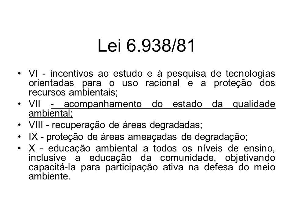 Lei 6.938/81 VI - incentivos ao estudo e à pesquisa de tecnologias orientadas para o uso racional e a proteção dos recursos ambientais;