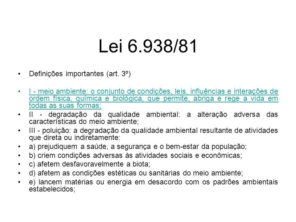 Lei 6.938/81 Definições importantes (art. 3º)