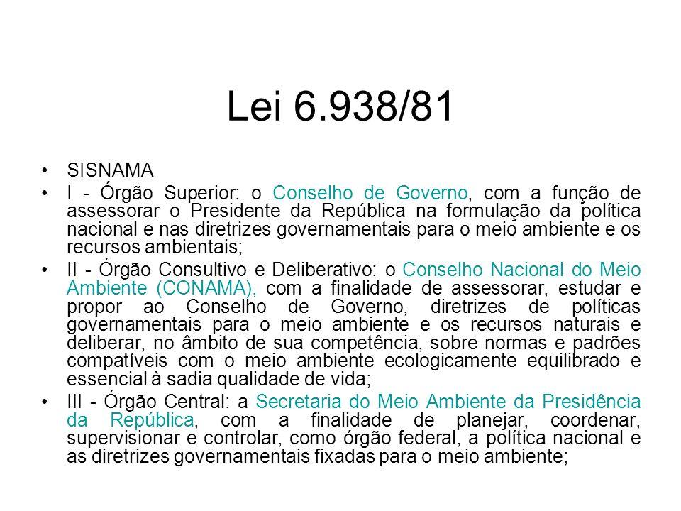 Lei 6.938/81 SISNAMA.