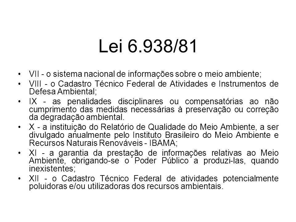 Lei 6.938/81 VII - o sistema nacional de informações sobre o meio ambiente;