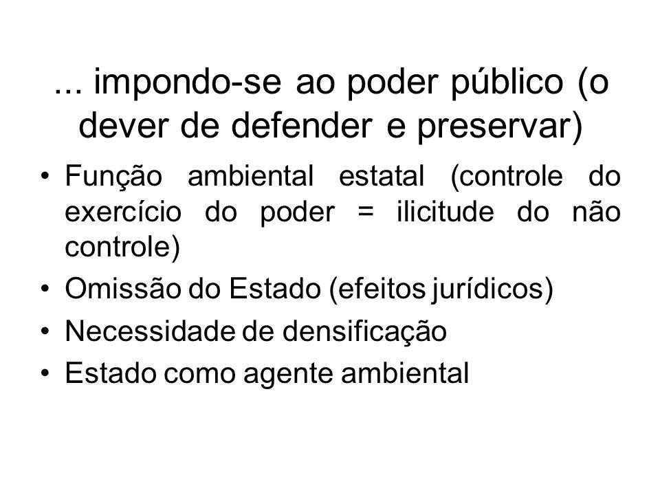 ... impondo-se ao poder público (o dever de defender e preservar)