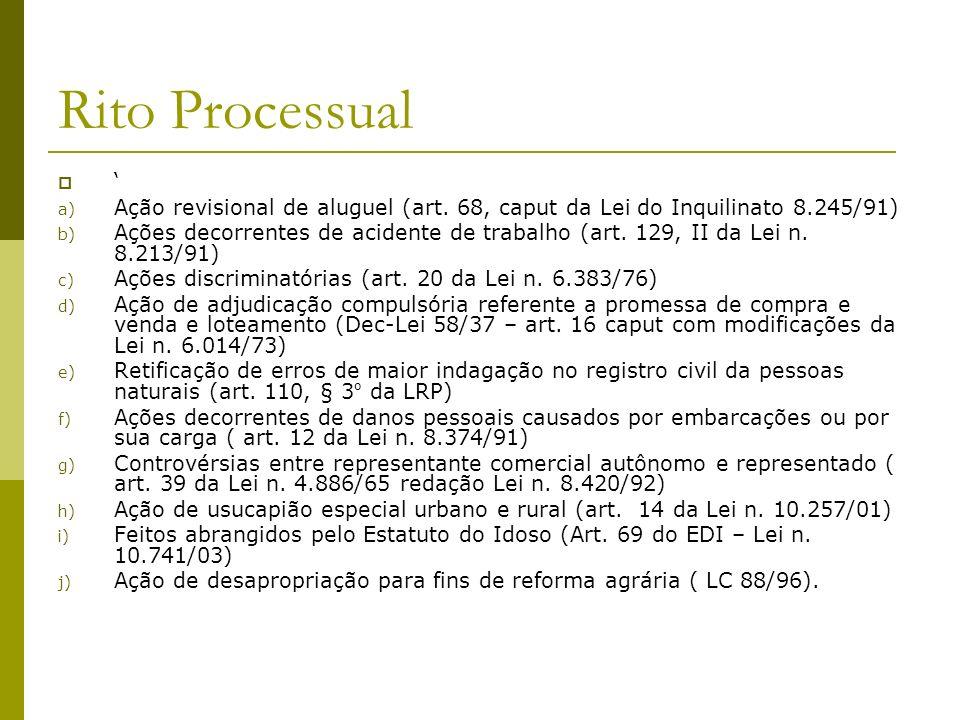 Rito Processual ' Ação revisional de aluguel (art. 68, caput da Lei do Inquilinato 8.245/91)