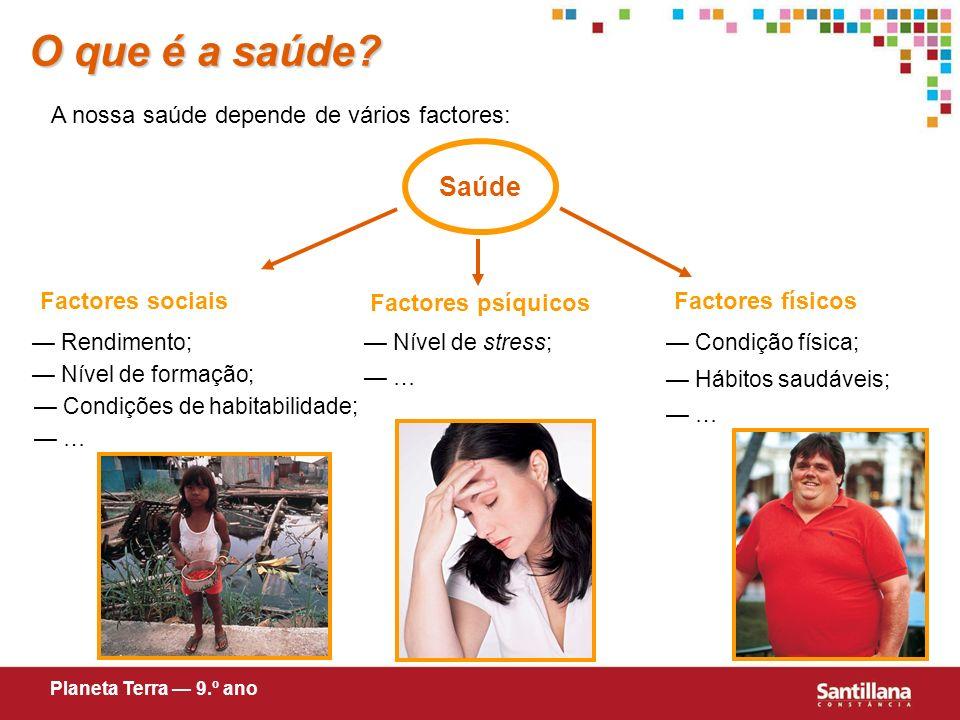 O que é a saúde Saúde A nossa saúde depende de vários factores: