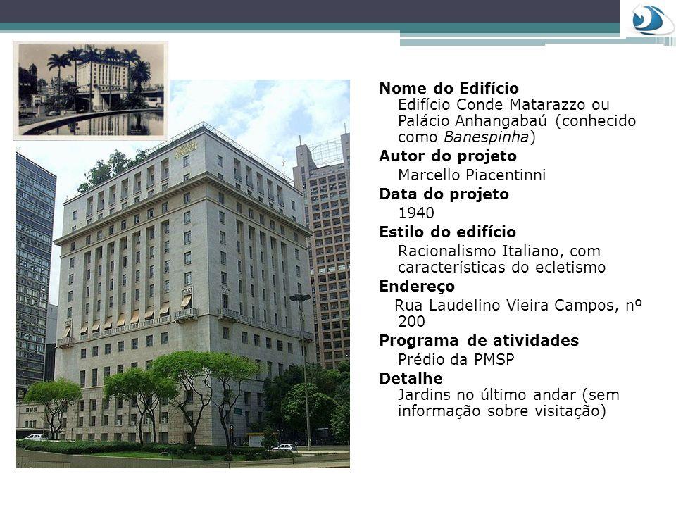 Nome do Edifício Edifício Conde Matarazzo ou Palácio Anhangabaú (conhecido como Banespinha)