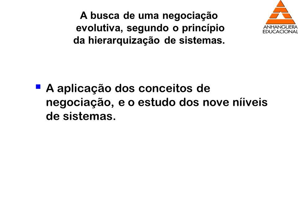A busca de uma negociação evolutiva, segundo o princípio da hierarquização de sistemas.