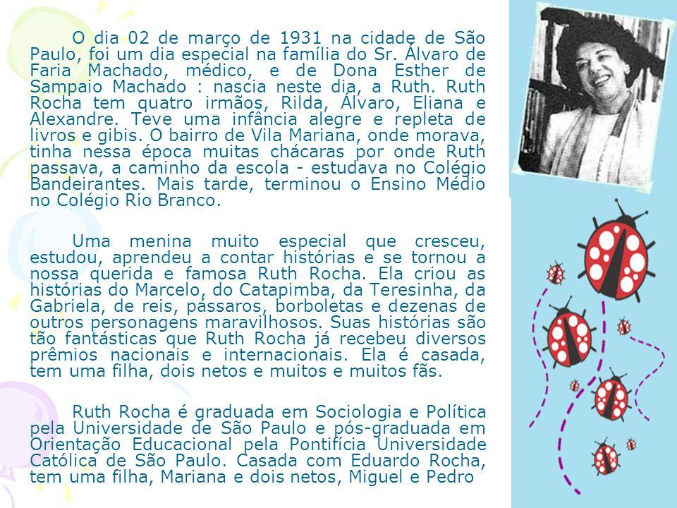 O dia 02 de março de 1931 na cidade de São Paulo, foi um dia especial na família do Sr. Álvaro de Faria Machado, médico, e de Dona Esther de Sampaio Machado : nascia neste dia, a Ruth. Ruth Rocha tem quatro irmãos, Rilda, Álvaro, Eliana e Alexandre. Teve uma infância alegre e repleta de livros e gibis. O bairro de Vila Mariana, onde morava, tinha nessa época muitas chácaras por onde Ruth passava, a caminho da escola - estudava no Colégio Bandeirantes. Mais tarde, terminou o Ensino Médio no Colégio Rio Branco.