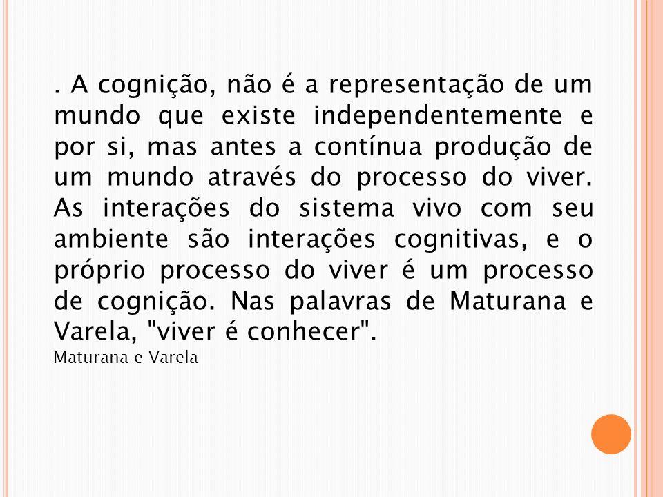 . A cognição, não é a representação de um mundo que existe independentemente e por si, mas antes a contínua produção de um mundo através do processo do viver. As interações do sistema vivo com seu ambiente são interações cognitivas, e o próprio processo do viver é um processo de cognição. Nas palavras de Maturana e Varela, viver é conhecer .