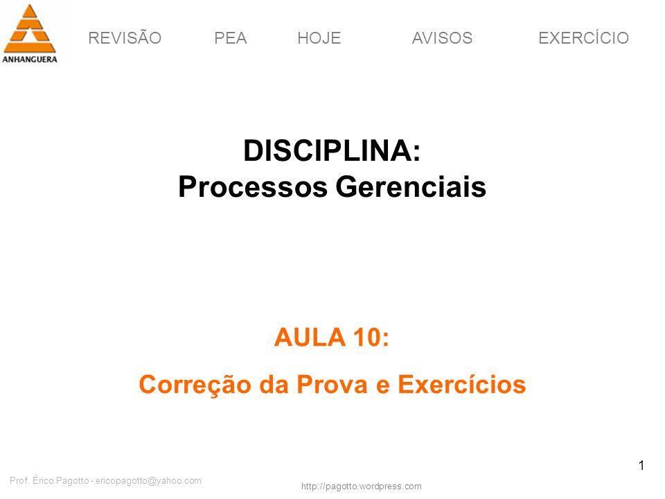 DISCIPLINA: Processos Gerenciais Correção da Prova e Exercícios