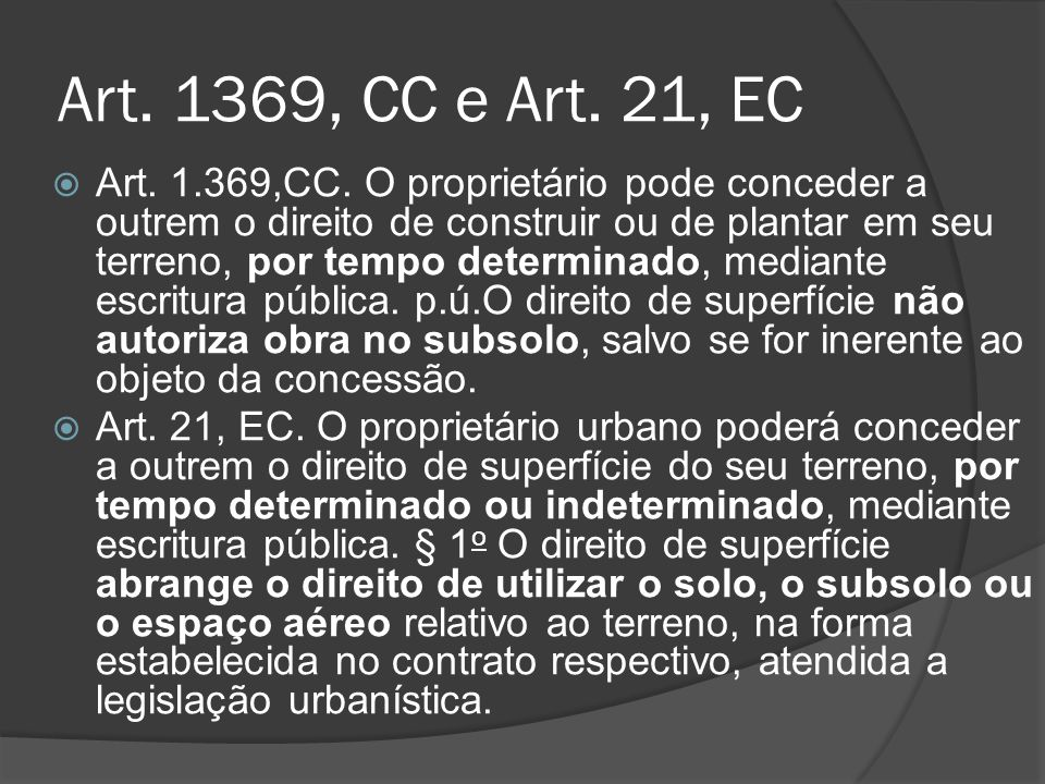 Art. 1369, CC e Art. 21, EC
