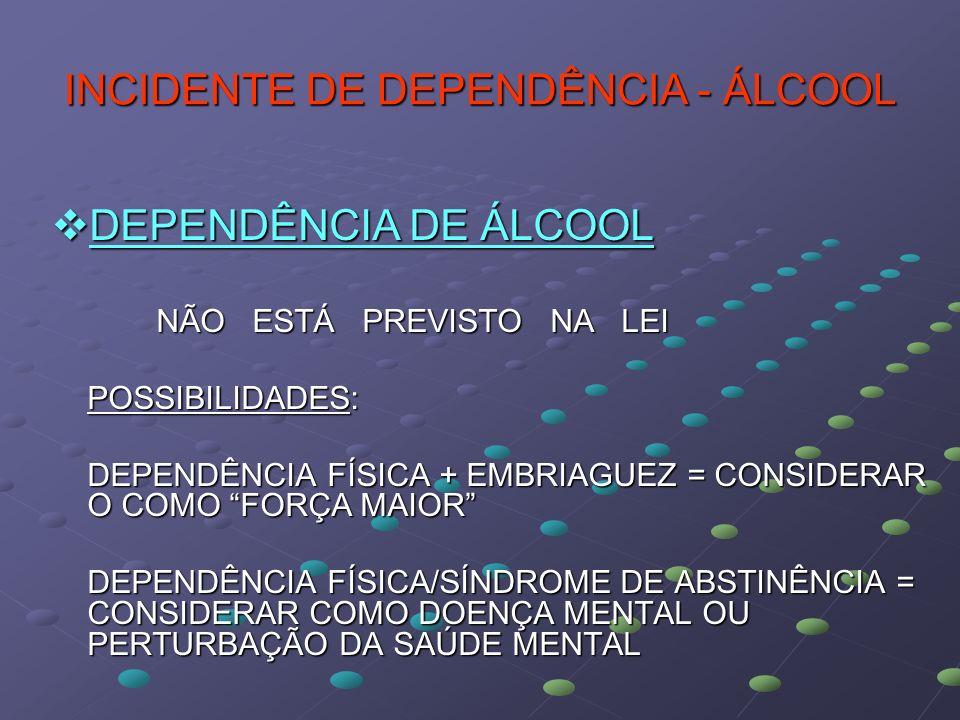 INCIDENTE DE DEPENDÊNCIA - ÁLCOOL