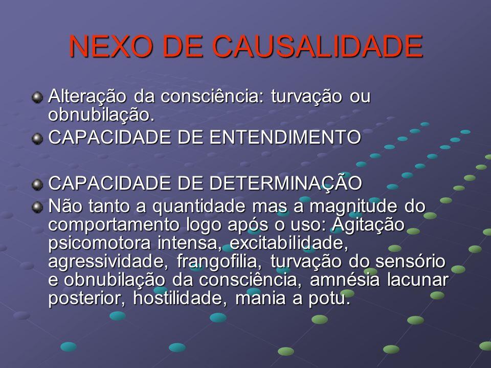NEXO DE CAUSALIDADE Alteração da consciência: turvação ou obnubilação.