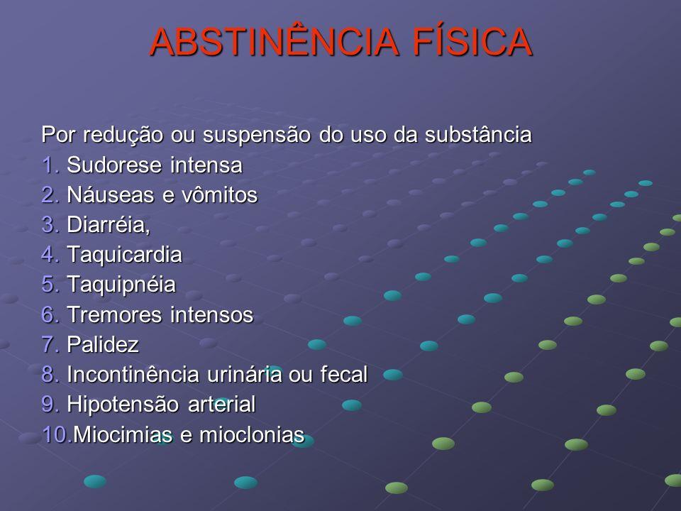 ABSTINÊNCIA FÍSICA Por redução ou suspensão do uso da substância