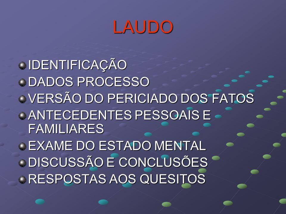 LAUDO IDENTIFICAÇÃO DADOS PROCESSO VERSÃO DO PERICIADO DOS FATOS