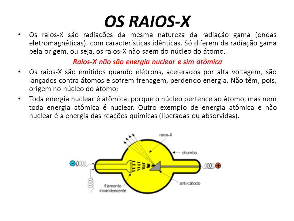 Raios-X não são energia nuclear e sim atômica