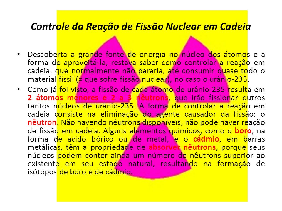 Controle da Reação de Fissão Nuclear em Cadeia