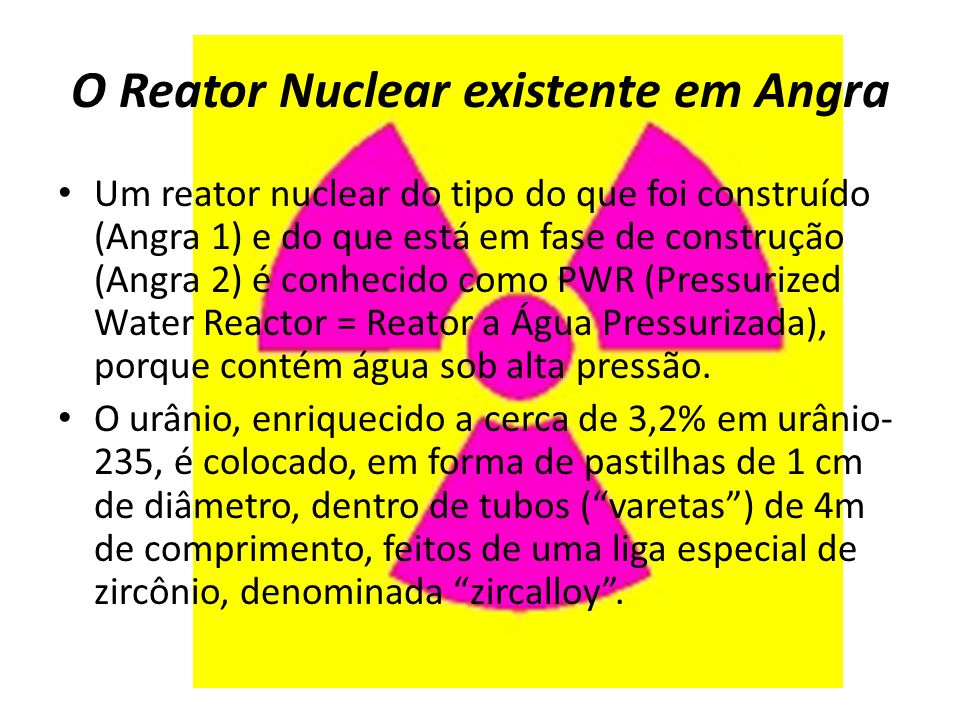 O Reator Nuclear existente em Angra