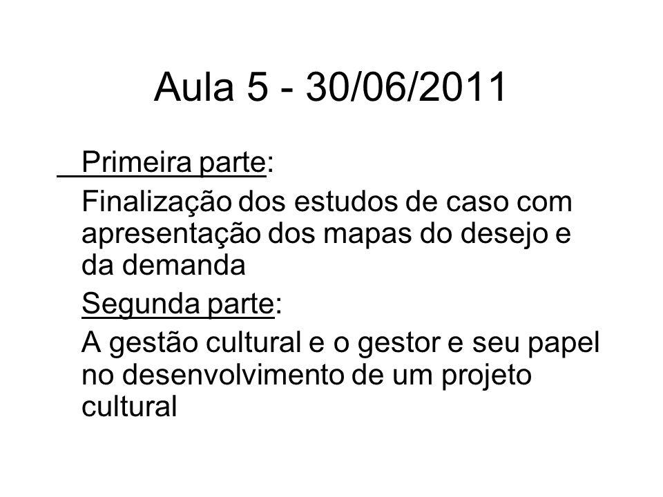 Aula 5 - 30/06/2011 Primeira parte: