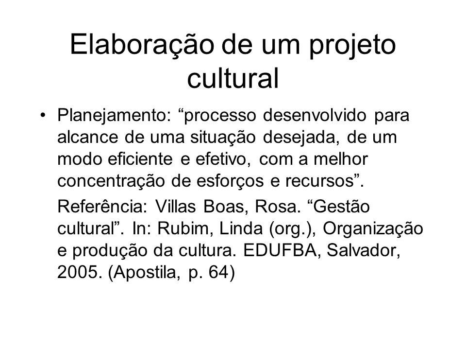 Elaboração de um projeto cultural