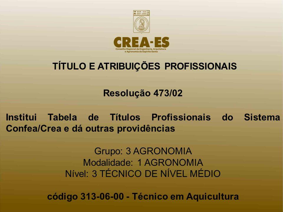 código 313-06-00 - Técnico em Aquicultura