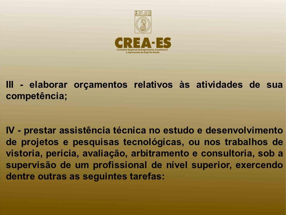 III - elaborar orçamentos relativos às atividades de sua competência;