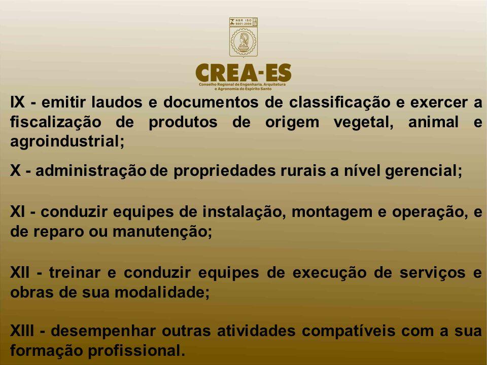 X - administração de propriedades rurais a nível gerencial;