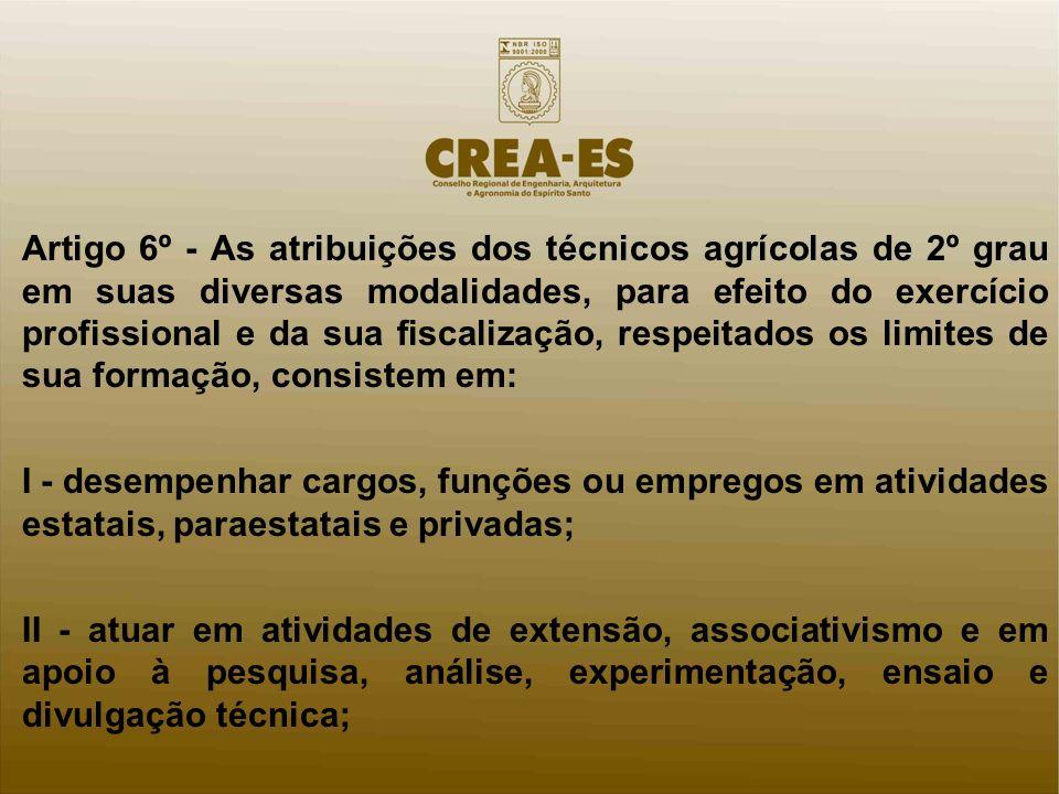 Artigo 6º - As atribuições dos técnicos agrícolas de 2º grau em suas diversas modalidades, para efeito do exercício profissional e da sua fiscalização, respeitados os limites de sua formação, consistem em: