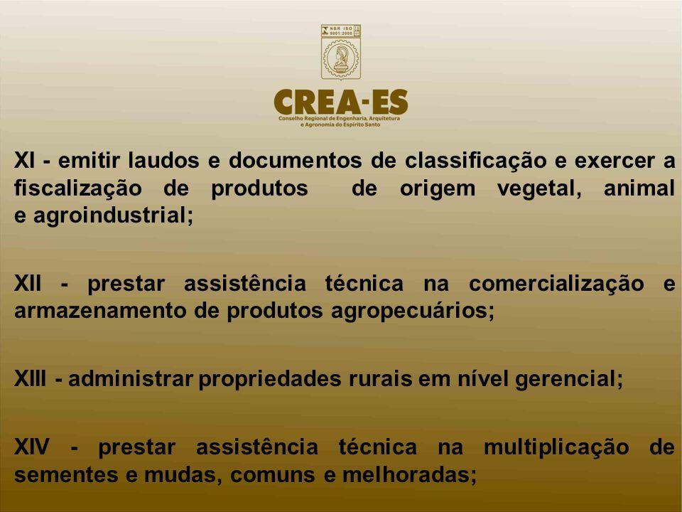 XI - emitir laudos e documentos de classificação e exercer a fiscalização de produtos de origem vegetal, animal e agroindustrial;