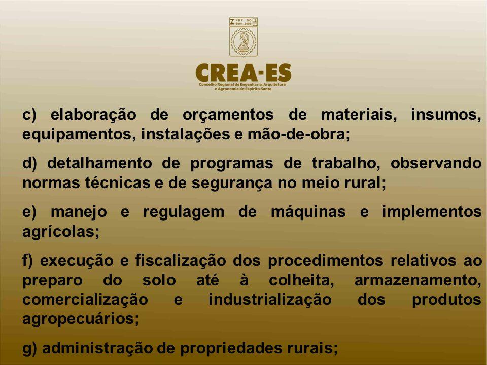 c) elaboração de orçamentos de materiais, insumos, equipamentos, instalações e mão-de-obra;