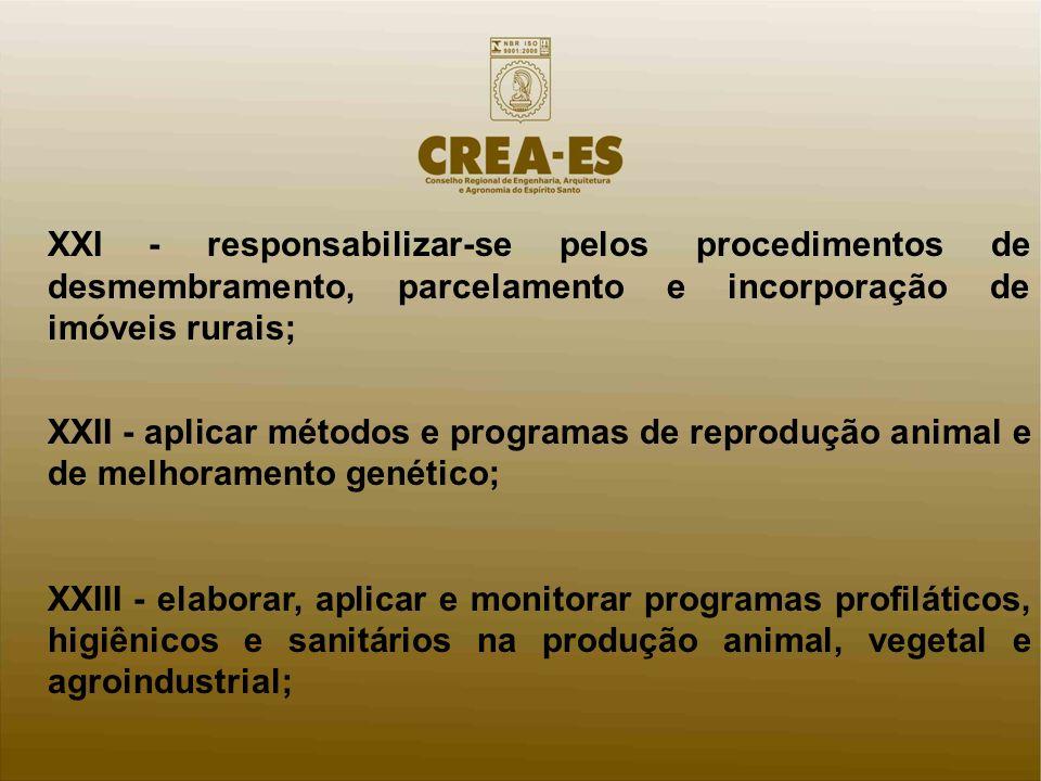 XXI - responsabilizar-se pelos procedimentos de desmembramento, parcelamento e incorporação de imóveis rurais;
