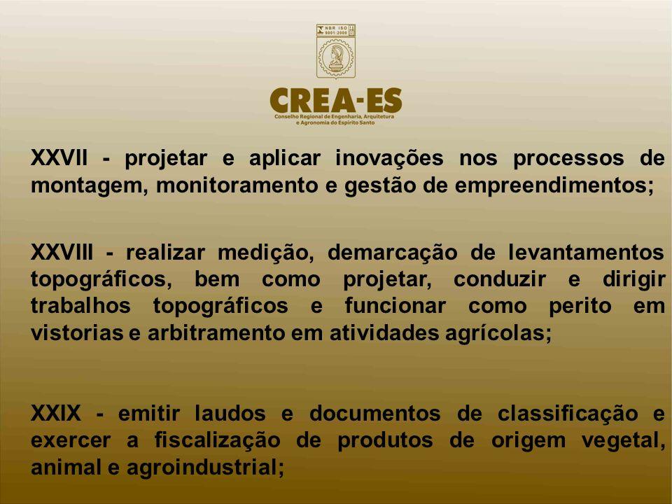 XXVII - projetar e aplicar inovações nos processos de montagem, monitoramento e gestão de empreendimentos;
