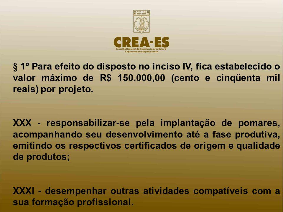 § 1º Para efeito do disposto no inciso IV, fica estabelecido o valor máximo de R$ 150.000,00 (cento e cinqüenta mil reais) por projeto.