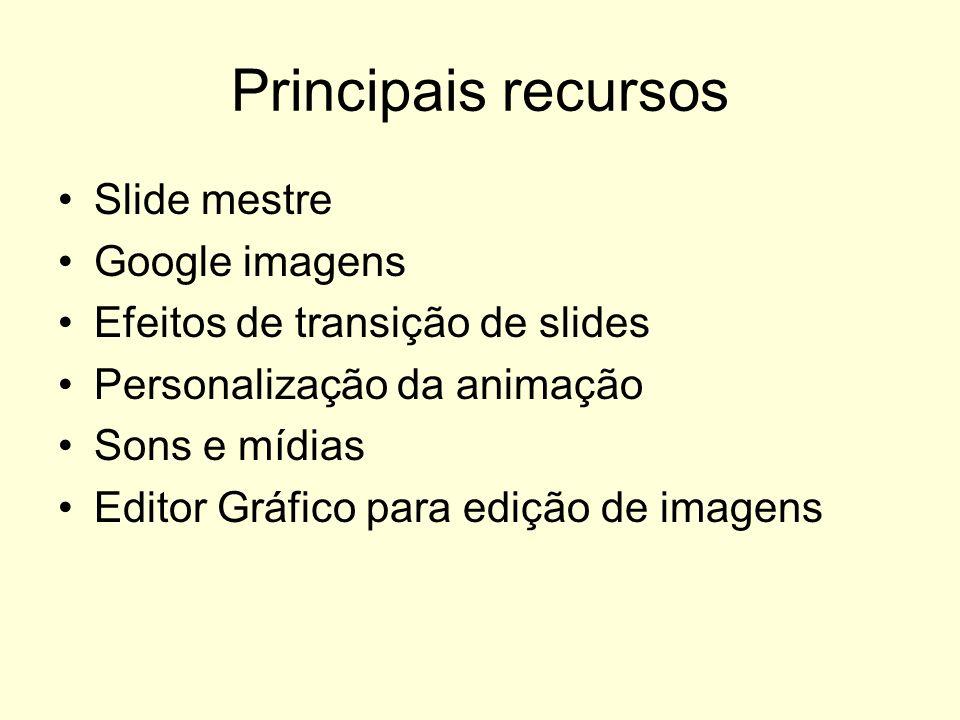 Principais recursos Slide mestre Google imagens