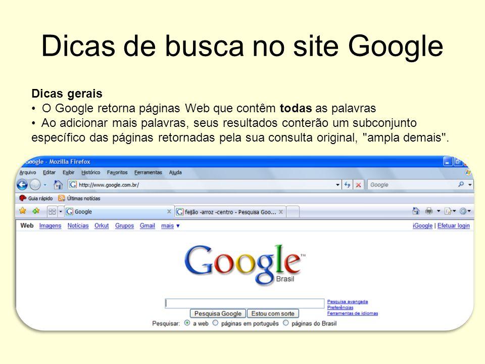 Dicas de busca no site Google