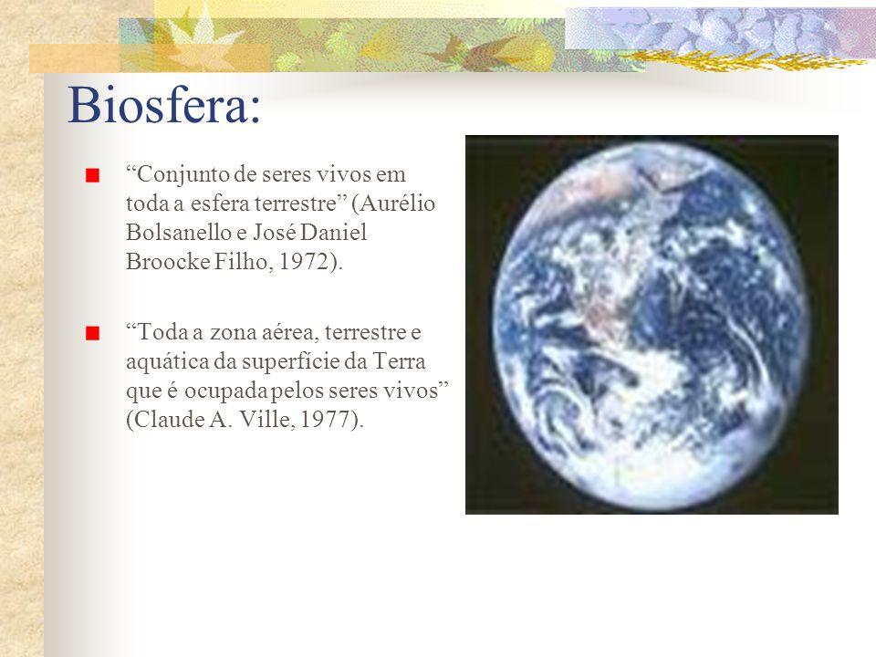 Biosfera: Conjunto de seres vivos em toda a esfera terrestre (Aurélio Bolsanello e José Daniel Broocke Filho, 1972).
