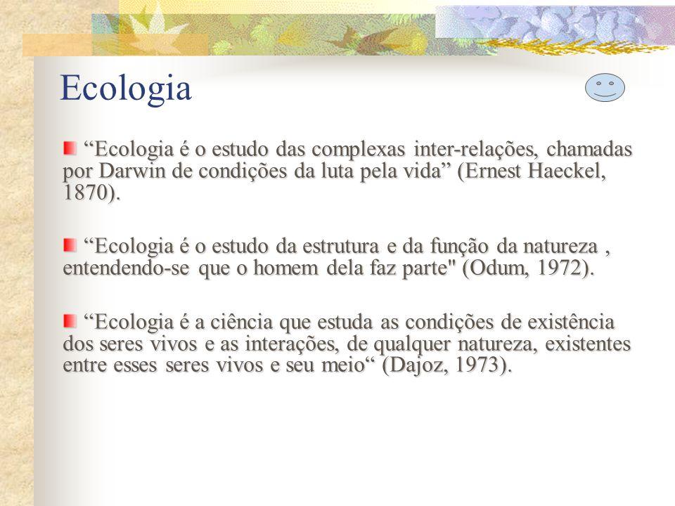 Ecologia Ecologia é o estudo das complexas inter-relações, chamadas por Darwin de condições da luta pela vida (Ernest Haeckel, 1870).