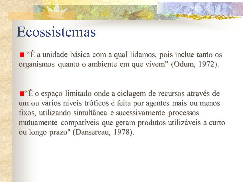 Ecossistemas É a unidade básica com a qual lidamos, pois inclue tanto os organismos quanto o ambiente em que vivem (Odum, 1972).