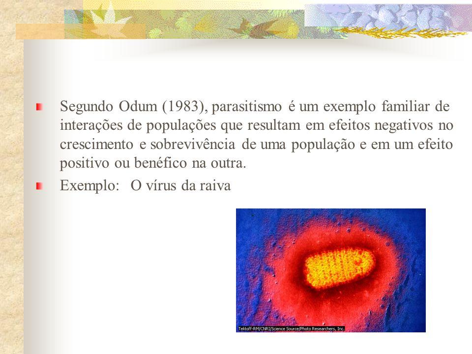 Segundo Odum (1983), parasitismo é um exemplo familiar de interações de populações que resultam em efeitos negativos no crescimento e sobrevivência de uma população e em um efeito positivo ou benéfico na outra.