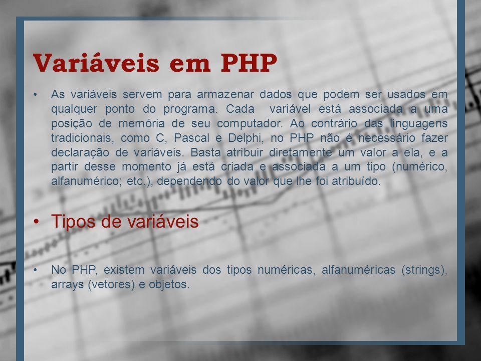 Variáveis em PHP Tipos de variáveis