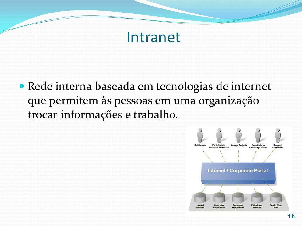 Intranet Rede interna baseada em tecnologias de internet que permitem às pessoas em uma organização trocar informações e trabalho.