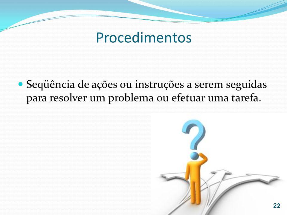 ProcedimentosSeqüência de ações ou instruções a serem seguidas para resolver um problema ou efetuar uma tarefa.