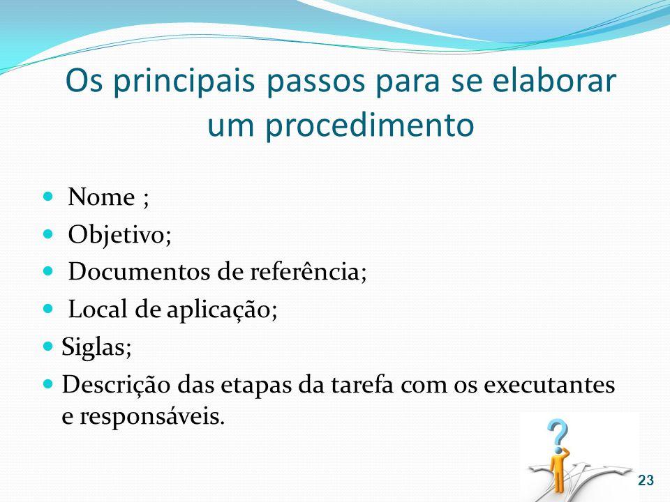 Os principais passos para se elaborar um procedimento