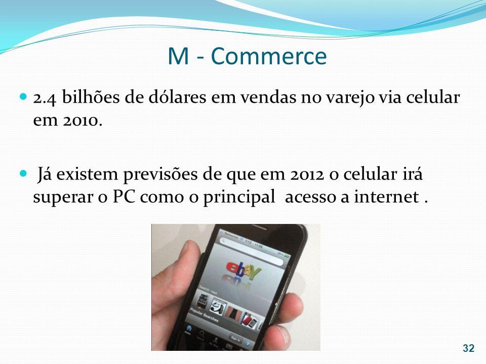 M - Commerce2.4 bilhões de dólares em vendas no varejo via celular em 2010.