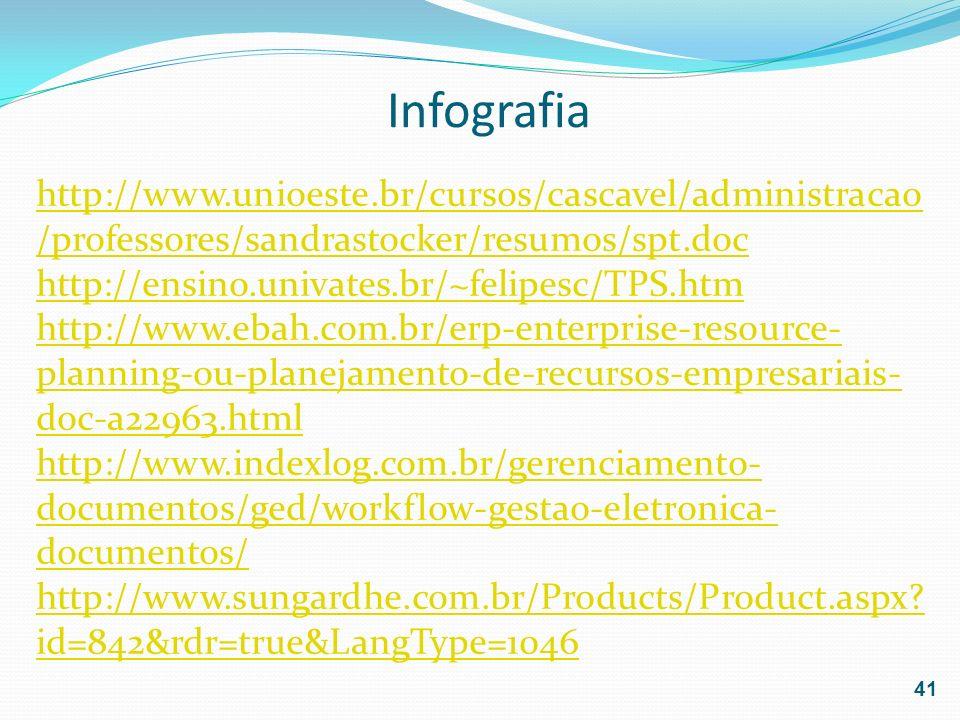 Infografiahttp://www.unioeste.br/cursos/cascavel/administracao/professores/sandrastocker/resumos/spt.doc.