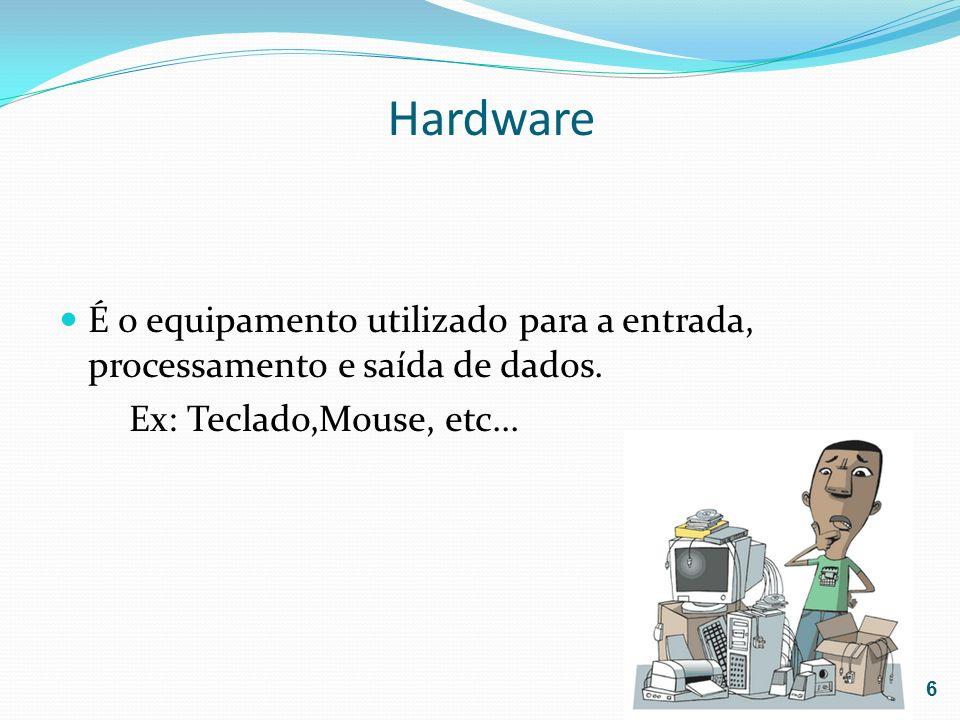 HardwareÉ o equipamento utilizado para a entrada, processamento e saída de dados.