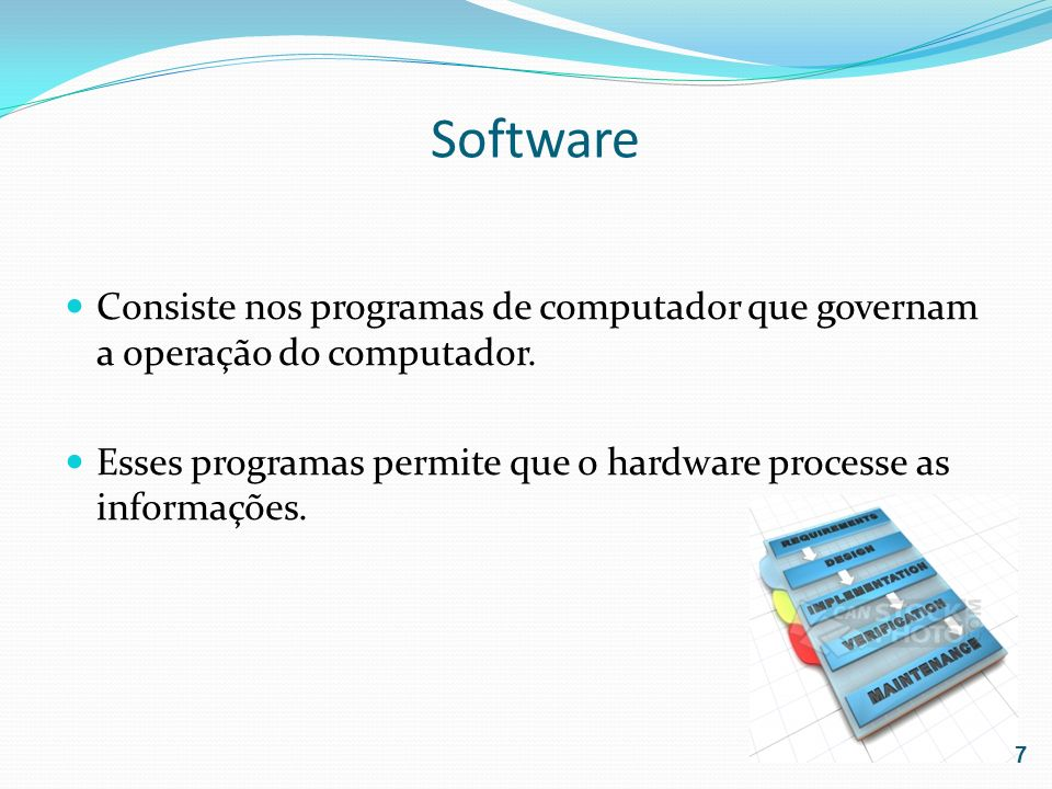 SoftwareConsiste nos programas de computador que governam a operação do computador.
