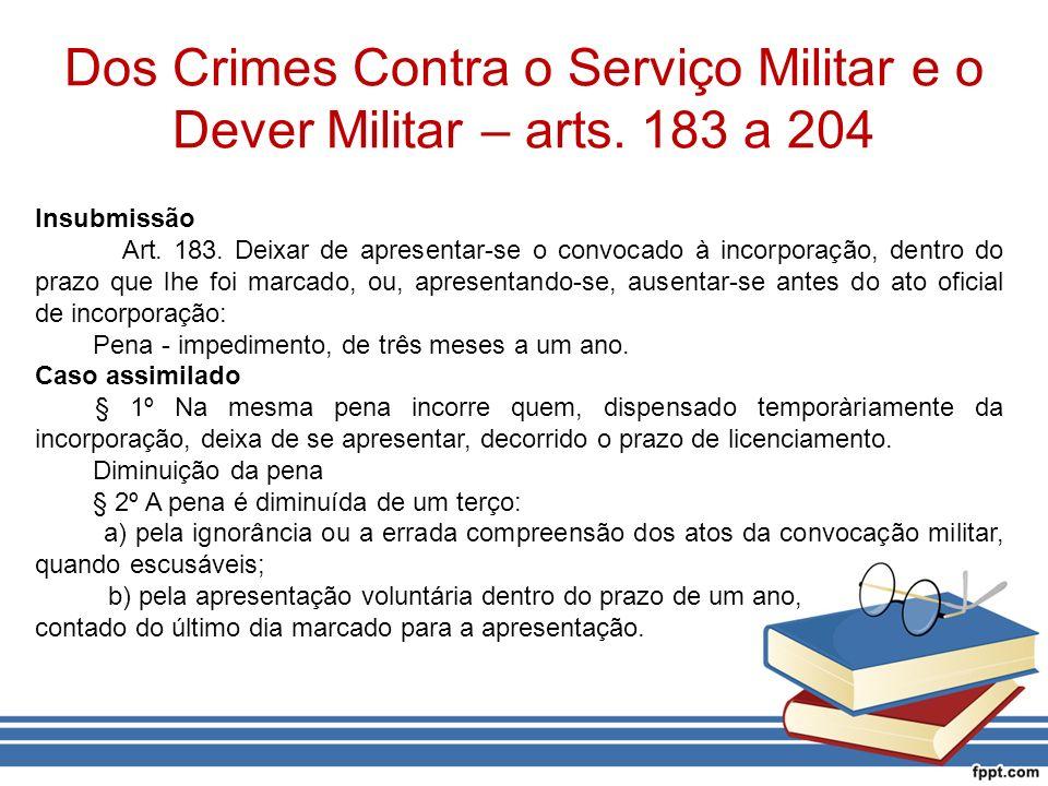 Dos Crimes Contra o Serviço Militar e o Dever Militar – arts. 183 a 204
