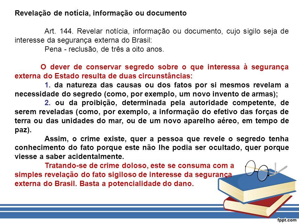Revelação de notícia, informação ou documento