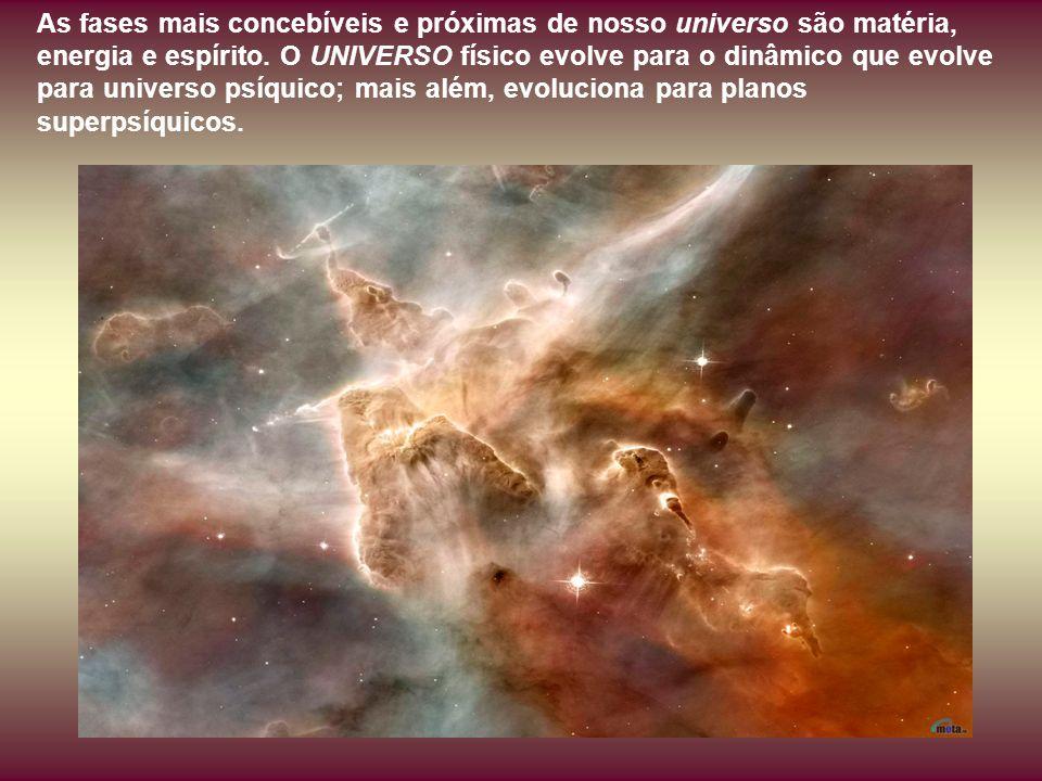 As fases mais concebíveis e próximas de nosso universo são matéria, energia e espírito.