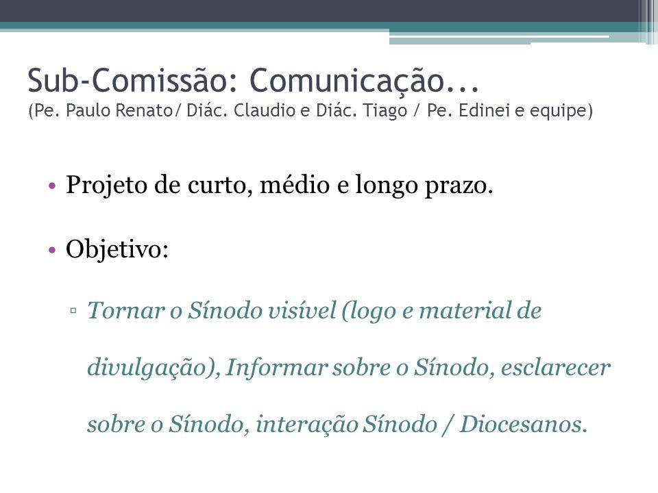 Sub-Comissão: Comunicação. (Pe. Paulo Renato/ Diác. Claudio e Diác